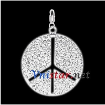 Free shipping! Wholesale double silver plated peace sign clasp charms HCC262-1 with clear stones, sold in 2pcs per pack