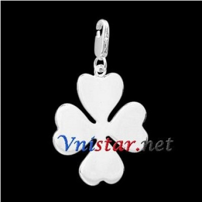 Free shipping! Wholesale high quality double silver plated clasp charms HCC261 with clover pendant, sold in 2pcs per pack