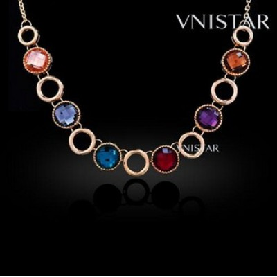 Free shipping! Fashion necklaces, crystal necklace, round crystal, VN390, length in 48cm, sold in 3 pcs per pack