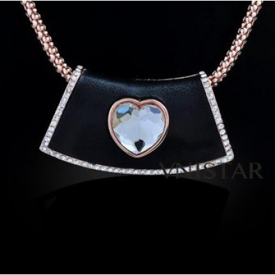 Free shipping! Fashion necklaces, trapezoid pendant, heart crystal, VN399, pendant size 28*52mm, sold in 2 pcs per pack