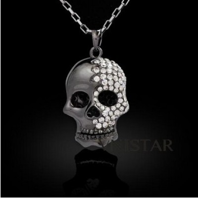 Free shipping! Fashion necklaces, skull necklace, hollow 3D skull pendant, VN401, skull size 25*35mm, sold in 2 pcs per pack