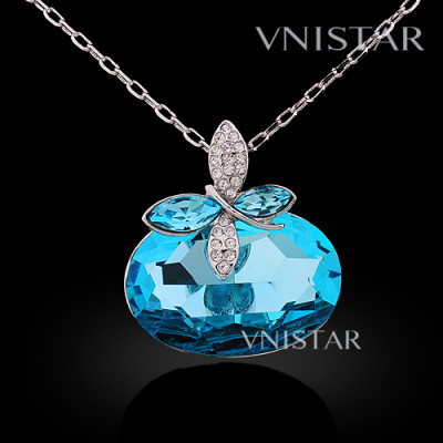 Free shipping! Necklaces, fashion crystal necklace, large oval crystal, butterfly raised, VN566, pendant size 30*33mm, sold in 2 pcs per pack