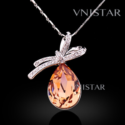 Free shipping! Necklaces, fashion crystal necklace, bowknot pendant with teardrop crystal, VN563, pendant size 25*32mm, sold in 2 pcs per pack