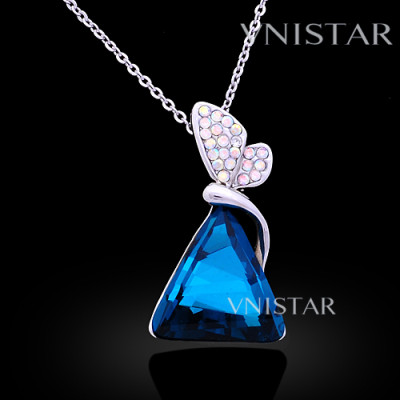 Free shipping! Necklaces, butterfly crystal necklace, triangle pendant, large triangle crystal, VN562, pendant size 16*28mm, sold in 2 pcs per pack