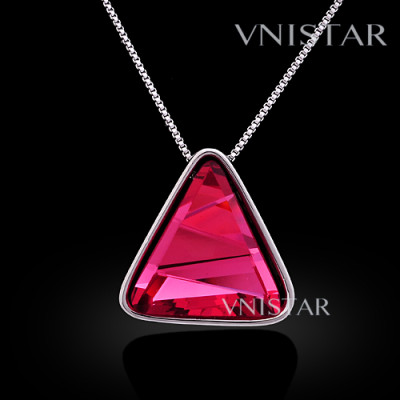 Free shipping! Necklaces, fashion crystal necklace, triangle pendant, large triangle crystal, VN561, pendant size 25*25mm, sold in 2 pcs per pack