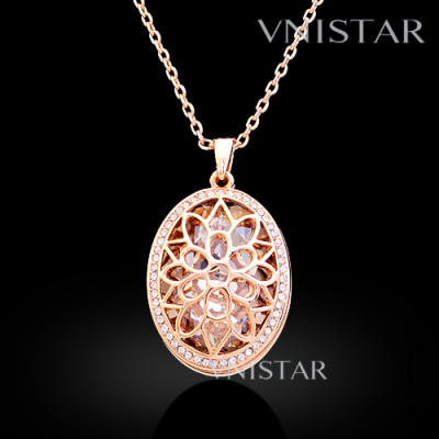 Free shipping! Necklaces, fashion crystal necklace, flower necklace, oval large crystal inside, VN560, pendant size 25*33mm, sold in 2 pcs per pack