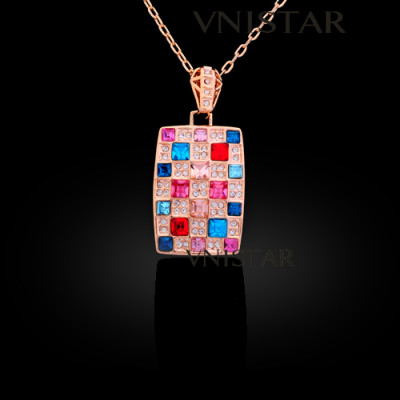 Free shipping! Necklaces, fashion crystal necklace, rectangle pendant, VN557, pendant size 20*33mm, sold in 2 pcs per pack