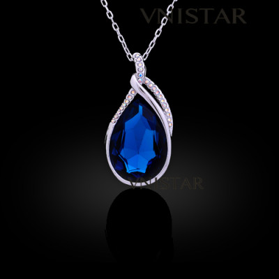 Free shipping! Necklaces, fashion crystal necklace, wedding necklace, big teardrop crystal, VN558, pendant size 25*48mm, sold in 2 pcs per pack
