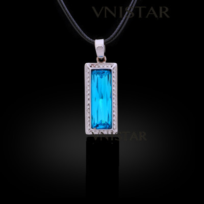 Free shipping! Necklaces, fashion wedding crystal necklace, rectangle pendant, rectangle crystal, VN555, pendant size 14*30mm, sold in 2 pcs per pack