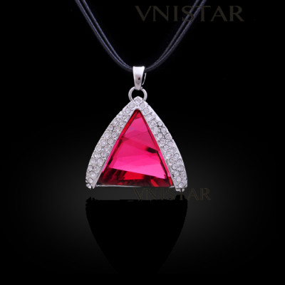 Free shipping! Necklaces, fashion crystal necklace, triangle pendant, huge triangle crystal, VN554, pendant size 28*28mm, sold in 2 pcs per pack