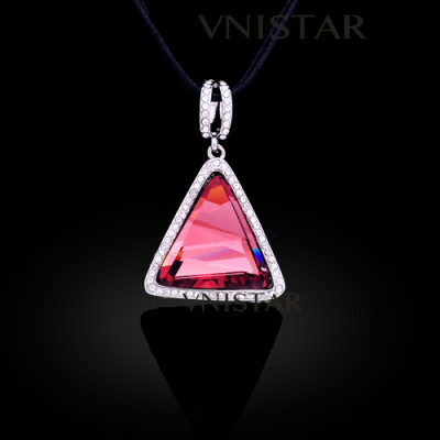 Free shipping! Necklaces, fashion crystal necklace, triangle pendant, huge triangle crystal, VN553, pendant size 27*27mm, sold in 2 pcs per pack