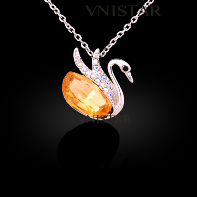 Free shipping! Necklaces, fashion crystal necklace, flying swan pendant, lady necklace, VN552, pendant size 18*18mm, sold in 2 pcs per pack