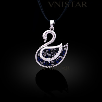 Free shipping! Necklaces, fashion necklace, swan pendant, swan necklace, VN550, pendant size 25*30mm, sold in 2 pcs per pack