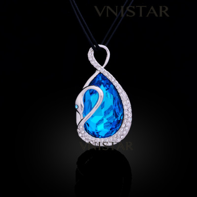 Free shipping! Necklaces, fashion crystal necklace, swan pendant, big teardrop crystal, VN549, pendant size 28*48mm, sold in 2 pcs per pack