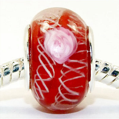 Free Shipping! Silver plated core glass bead PGB001, red color fashion beads size in 14*9mm sold as 20pcs each pack