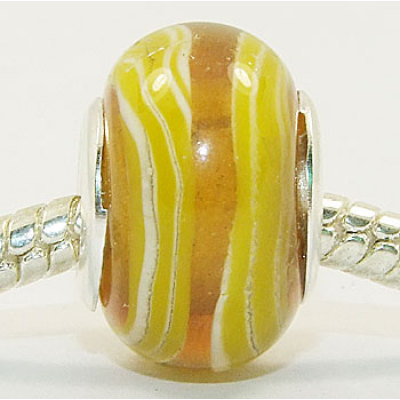 Free Shipping! Vnistar wholesale silver plated core glass bead PGB005, yellow color fashion beads size in 14*9mm sold as 20pcs each pack