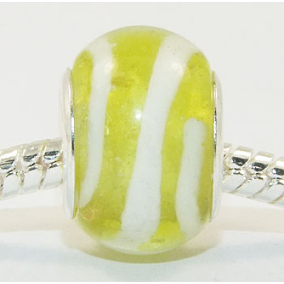 Free Shipping! Vnistar wholesale silver plated core glass bead PGB010, yellow and white  fashion beads in bulk size in 14*10mm, sold as 20pcs each pack