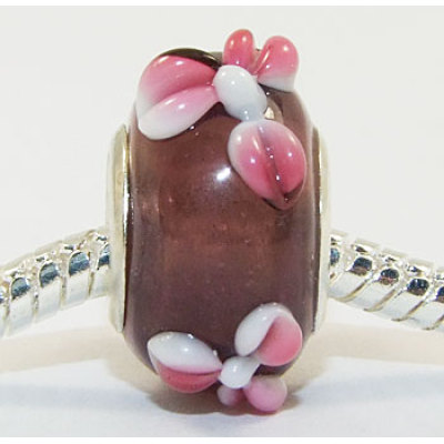 Free Shipping! Vnistar wholesale silver plated core glass beads PGB070, brown with pink flower  beads  size in 14*10mm, sold as 20pcs each pack