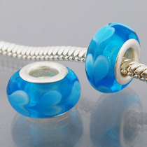 Free Shipping!Vnistar silver plated core glass beads with sky blue PGB373 size 9*14mm, sold as 20pcs each pack