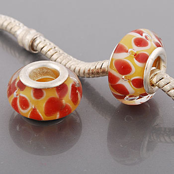 Free Shipping! Vnistar silver plated glass beads PGB499 yellow beads with red flowers on top, in 9*14mm, 20pcs per pack