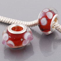 Free Shipping! Vnistar silver plated core red glass beads PGB427 with orchid flowers and glass ball raised, 20pcs per pack