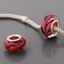 Free Shipping! Silver plated core glass bead PGB548, red bead with pink hearts, size in 8*14mm, 20pcs per pack