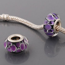 Free Shipping! Silver plated core glass bead PGB546, black bead with purple flowers, size in 9*14mm, 20pcs per pack
