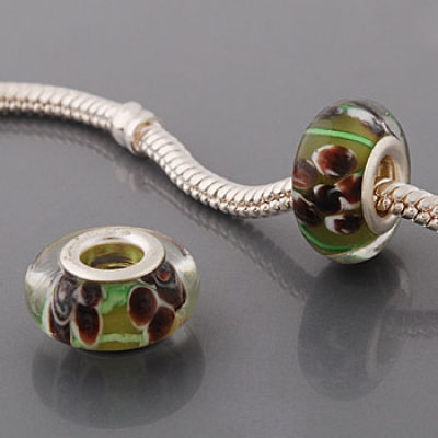 Free Shipping! Silver plated core glass bead PGB538, tan bead with brown flowers, size in 9*14mm, 20pcs per pack