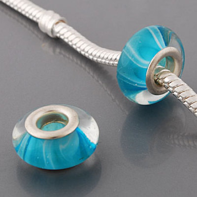 Free Shipping! Silver plated core glass bead PGB531, cyan bead with white lines in 7*14mm, 20pcs per pack