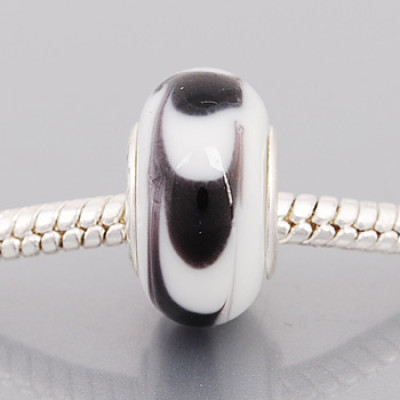 Free Shipping! Silver plated core glass bead PGB583, white bead with size in 9*14mm, 20pcs per pack