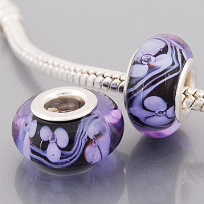 Free Shipping! Silver plated core black glass bead PGB582 with white flowers, size in 9*14mm, 20pcs per pack