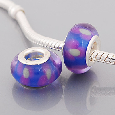 Free Shipping! Silver plated core blue glass bead PGB581 with white flowers, size in 9*14mm, 20pcs per pack