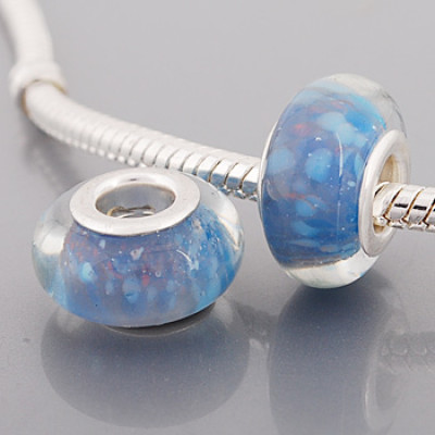 Free Shipping! Silver plated core glass bead PGB579 with size in 9*14mm, 20pcs per pack