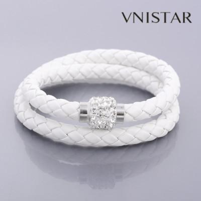 Bracelets, leather braided double wrap bracelet, magnetic clasp, unisex bracelet, VSB098, length in 38cm, 5pcs/pack