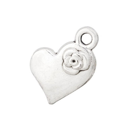 Charms, heart shaped charm, rose raised, floating charm, accessories, AC034, size in 11*15mm, 100PCS/PACK