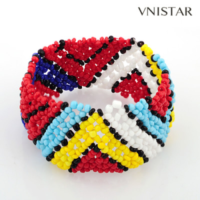 Bracelets, beaded stretch bracelet, seed bracelet, friend bracelet, VSB110, elastic, 25mm wide