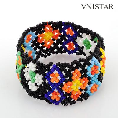 Bracelets, beaded stretch bracelet, seed bracelet, friend bracelet, VSB109, elastic, 25mm wide, 3pcs/pack