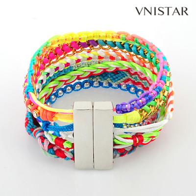 Bracelets, multistrand braided wrap bracelet, magnet clasp, VSB107, length in 19.5cm, 1pcs/pack