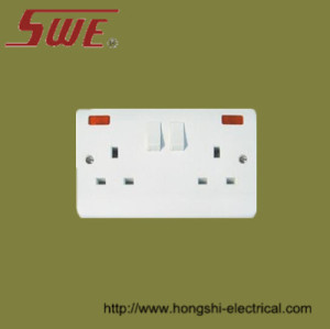 2 Gang Socket Outlet 13A Switched with neon