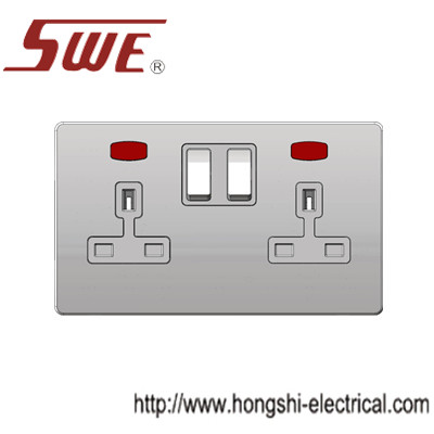 2 gang socket 13A with neon