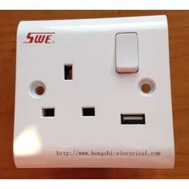 13A 250V 1 gang switched socket with 1 USB(1A) DP