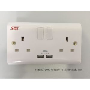 13A 250V 2 gang switched socket with 1 USB(2.1A) DP