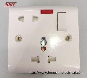 1 gang universal switched socket 16A +13A socket+10A 1 gang switch