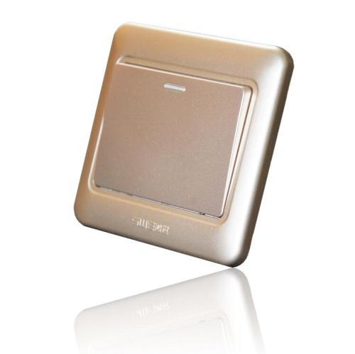 优质PC面料加高级喷漆工艺 H5C彩金面板开关插座 墙壁开关新品质