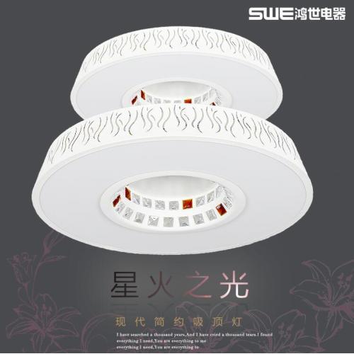 亿万先生客户端LED現代簡約圓形客廳燈 水晶燈 創意長方形客廳燈臥室燈大氣圓LED燈
