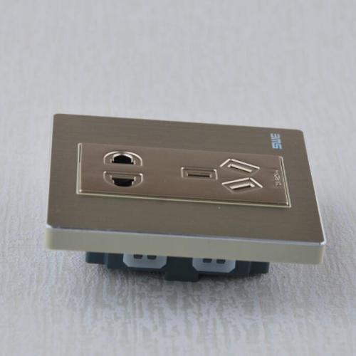 120型开关插座 金属铝拉丝面板搭配彩色喷漆功能件 高品质墙壁开关插座 功能件组合开关
