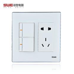 亚克力面板开关插座 120C系列雅白型家用墙壁开关插座