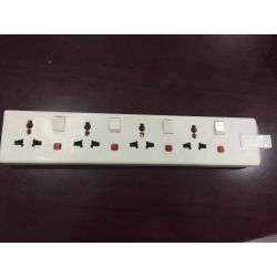 4 gang multi function traling sockets+neon white