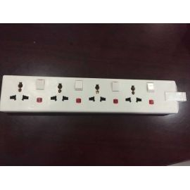 4 gang multi function traling sockets+neon white