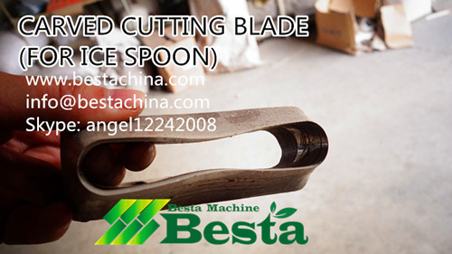 Ice spoon carved cutting blade